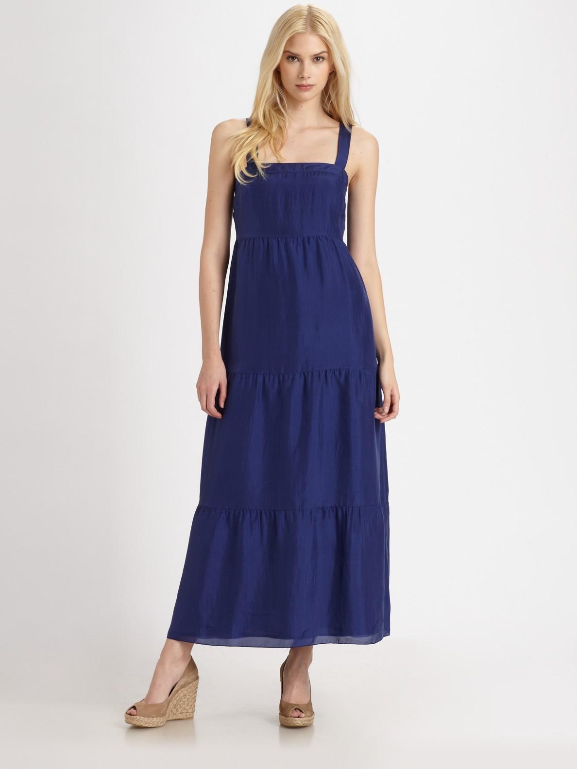 Lyst Eileen Fisher Silk Maxi Sundress In Blue