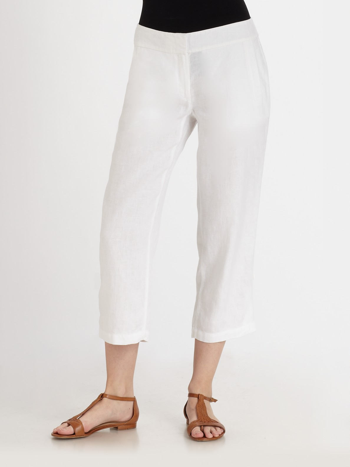Eileen Fisher Cropped Linen Pants In White Lyst