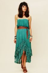 Free People Fringed Goddess Long Dress in Green (succulent) - Lyst