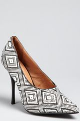 Jeffrey Campbell Black and White Birds Eye Woven Jules Pumps - Lyst
