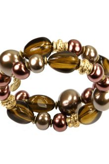 Jones New York Gold Tone Two Row Beaded Coil Bracelet - Lyst