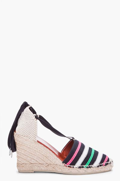 Marc By Marc Jacobs Striped Espadrille Wedge Sandals in Multicolor (black) - Lyst
