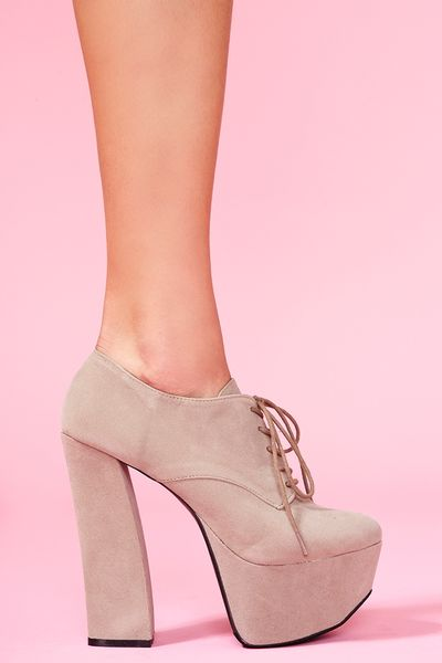 Nasty Gal Anne Platform Oxford in Beige (taupe) - Lyst
