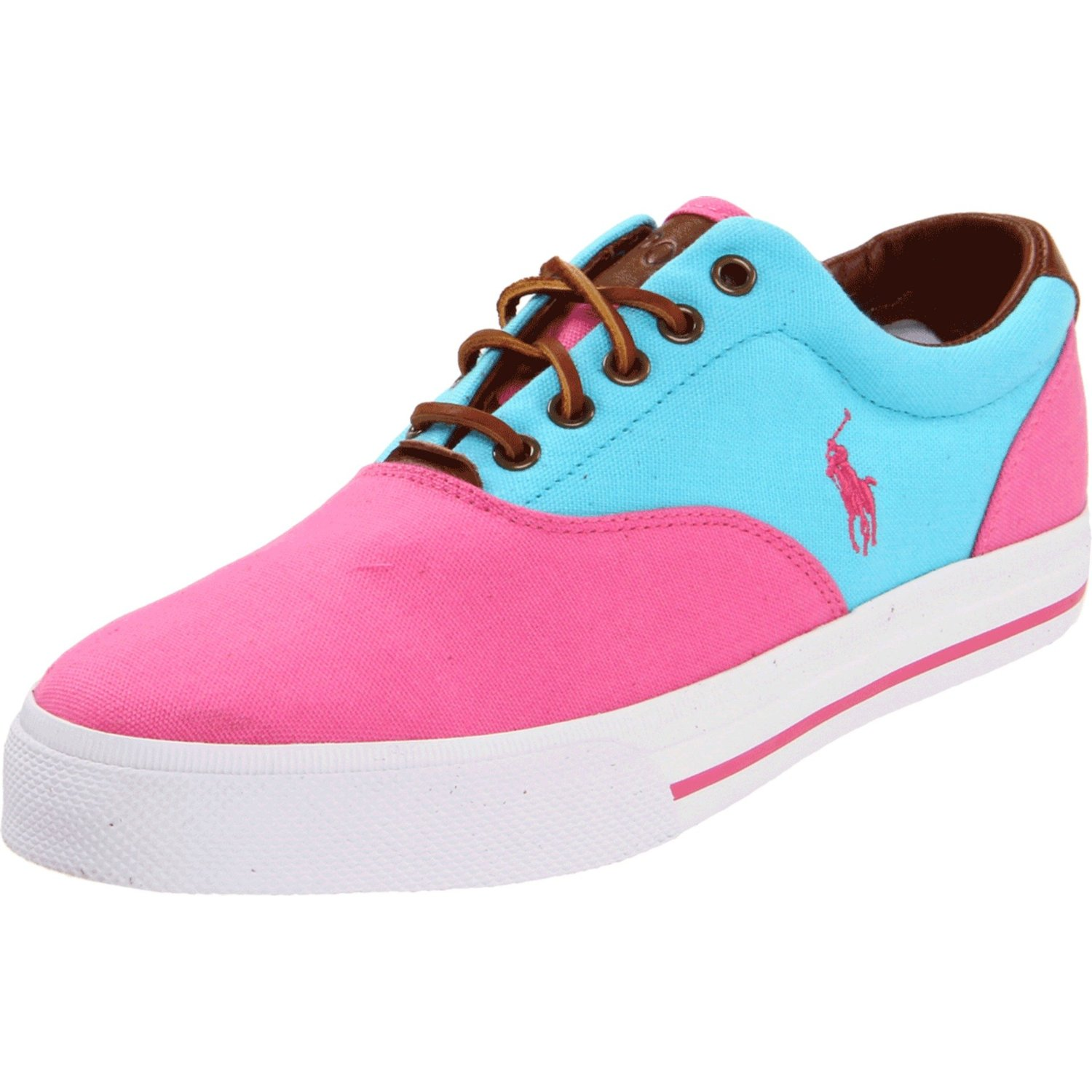 polo ralph vaughn saddle sneaker in pink for