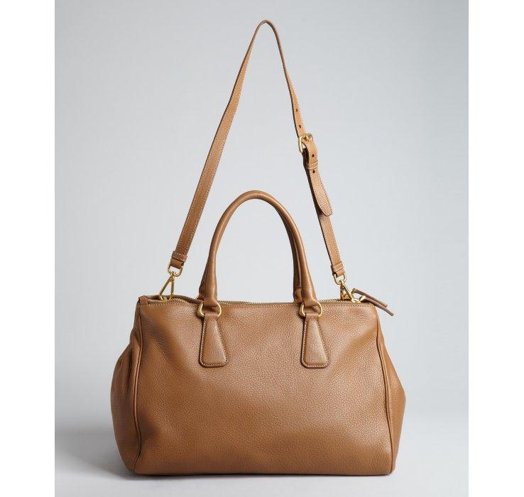 Prada Camel Deerskin Convertible Top Handle Bag in Beige (camel ...