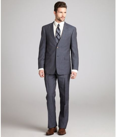 Tommy Hilfiger Navy Glen Plaid Woollinen Rains 2button Suit with Flat Front Pants in Blue for Men (navy) - Lyst