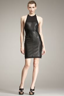 Alexander Wang Leather & Knit Dress - Lyst