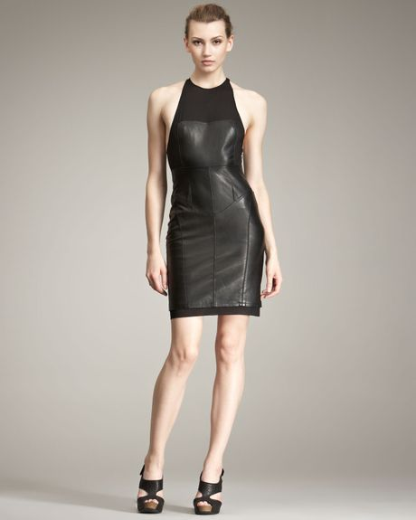 Alexander Wang Leather & Knit Dress in Black - Lyst