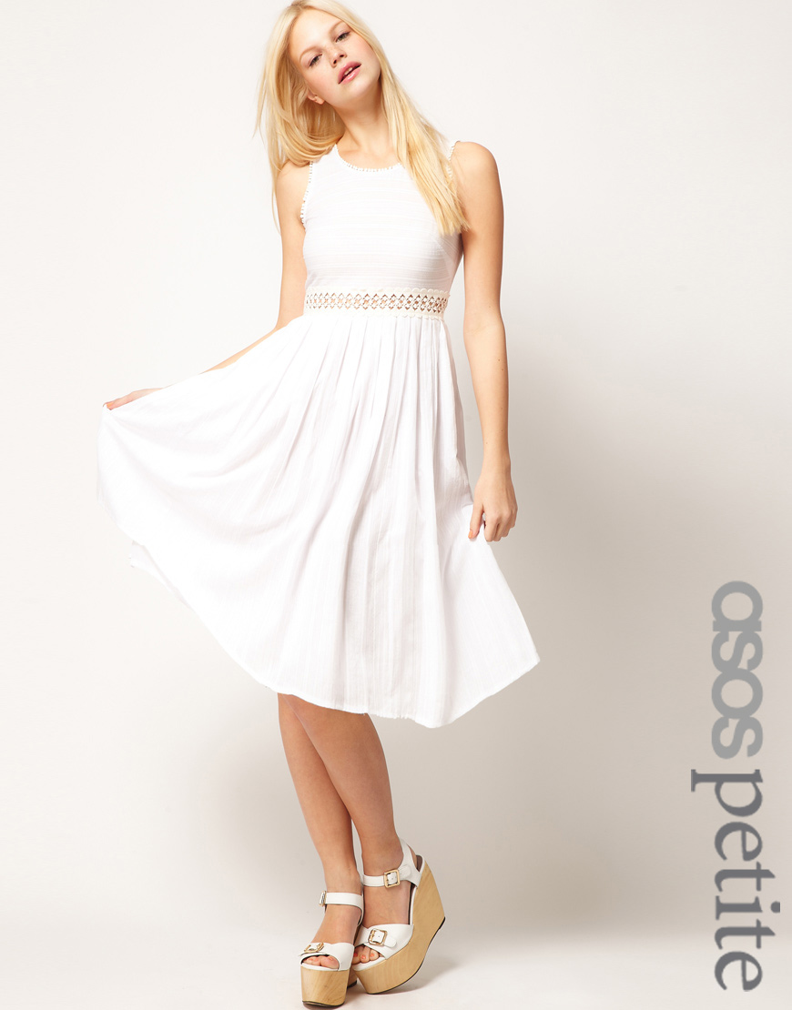 White midi full skirt dress