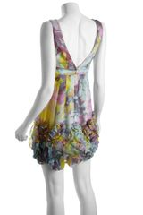 Bcbgmaxazria Lavender Floral Pattern Silk Rosette Trim Party Dress in Multicolor (lavender) - Lyst