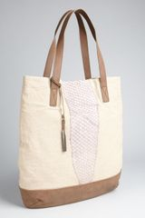 BCBGMAXAZRIA Natural Canvas Faux Leather Trimmed Tote - Lyst