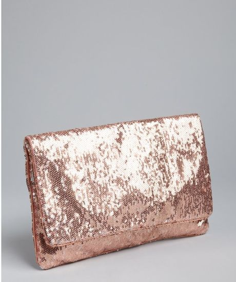 Bcbgmaxazria Sandalwood Sequined Foldover Clutch in Pink (rose) - Lyst