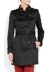 Burberry Prorsum Midlength Cottonsateen Trench Coat in Black - Lyst