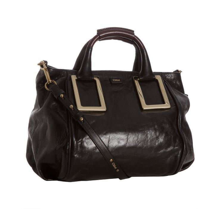 Chlo¨¦ Black Lambskin Leather Ethel Medium Convertible Tote in ...