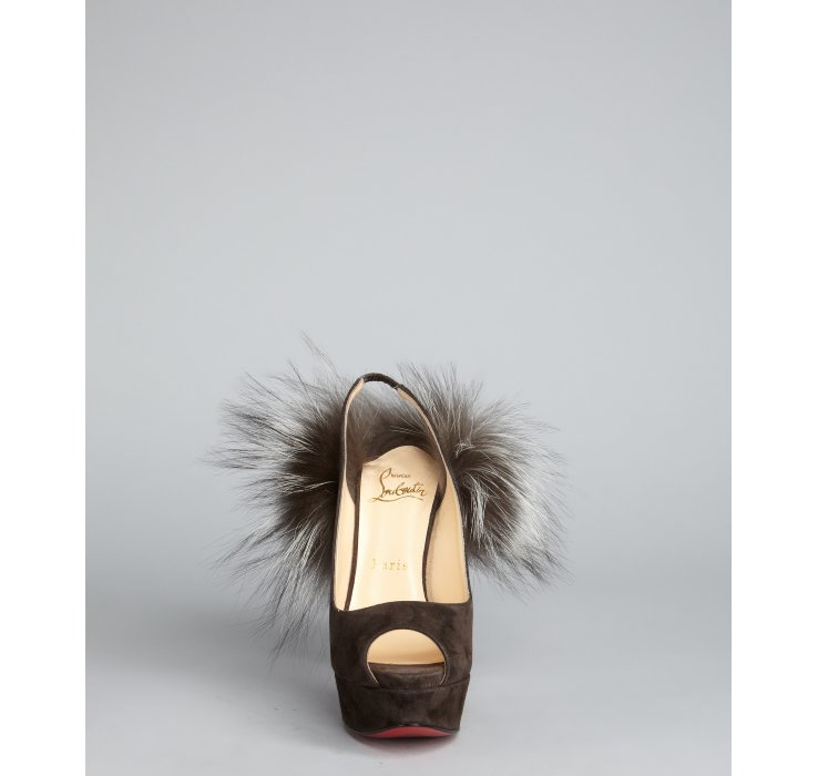 Christian louboutin Charcoal Suede Lady Fur 150 Fox Trimmed Peep ...