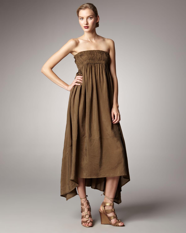 Donna karan new york strapless habutai silk dress in brown for Donna karan new york