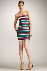 DSquared2 Striped Strapless Dress - Lyst