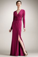 Elie Saab Long-Sleeve Jersey Gown - Lyst