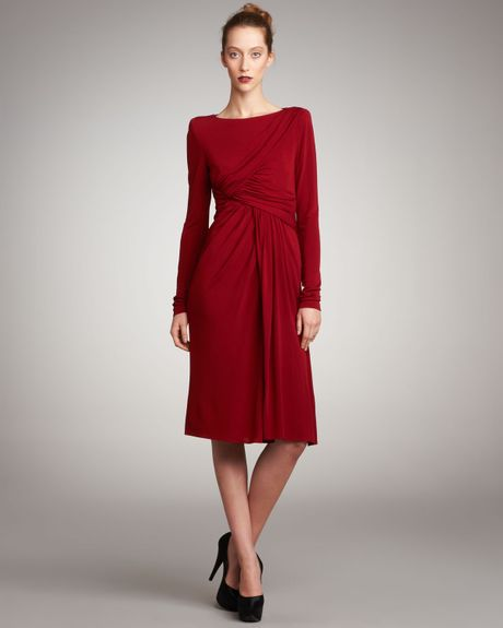 Elie Saab Draped Jersey Cocktail Dress in Red (scarlet) - Lyst