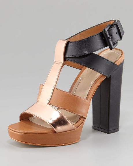 Elizabeth And James Sam Chunky Sandal in Brown (mutli) - Lyst