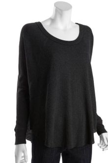 Free People Black Thermal Cotton Blend Love Bug Raglan Top - Lyst