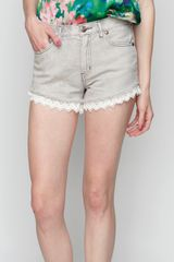 Free People Ripped Lace Short in Blue (denim) - Lyst