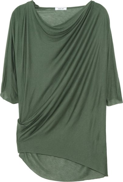 Helmut Lang Asymmetric Draped Jersey Top in Green (olive) - Lyst