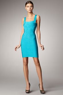 Hervé Léger Sleeveless Square-neck Bandage Dress - Lyst