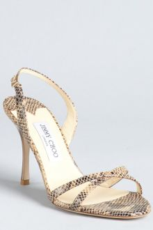 Jimmy Choo Nude Snake Print Leather India Sandals - Lyst