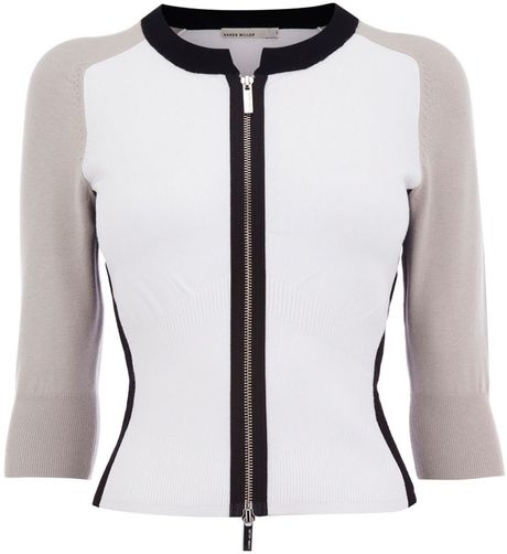 Karen Millen Colour Contrast Knit Cardigan in Beige (cream) - Lyst