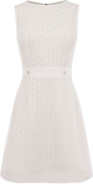 Karen Millen Broderie Dress in White - Lyst