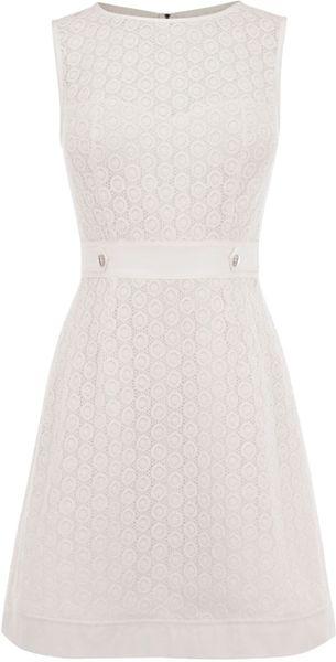 Karen Millen Broderie Dress in White