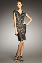 Lanvin Sequin-print Cowl-neck Dress - Lyst