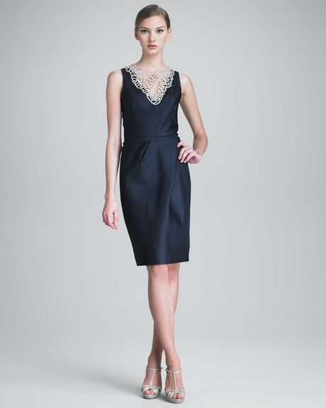 Lela Rose Dress with Crystal Embroidery in Blue (navy) - Lyst