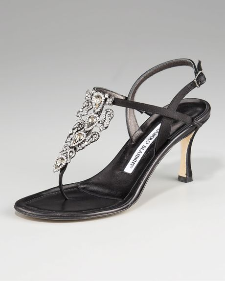 Manolo Blahnik Crystaldetail Thong Sandal in Black - Lyst
