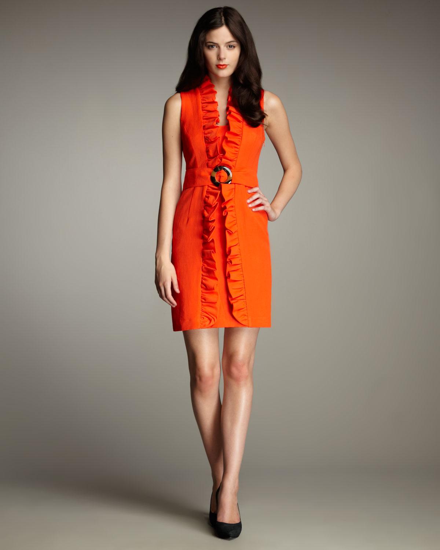 9f3ea48741 Lyst - MILLY Danielle Ruffled Linen Dress in Orange