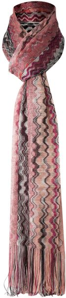 Missoni Large Zig Zag Scarf in Pink - Lyst