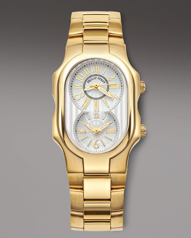 Lyst philip stein classic bracelet watch golden in metallic for Philip stein watches