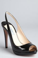Prada Black Patent Leather Peep Toe Slingback Pumps - Lyst