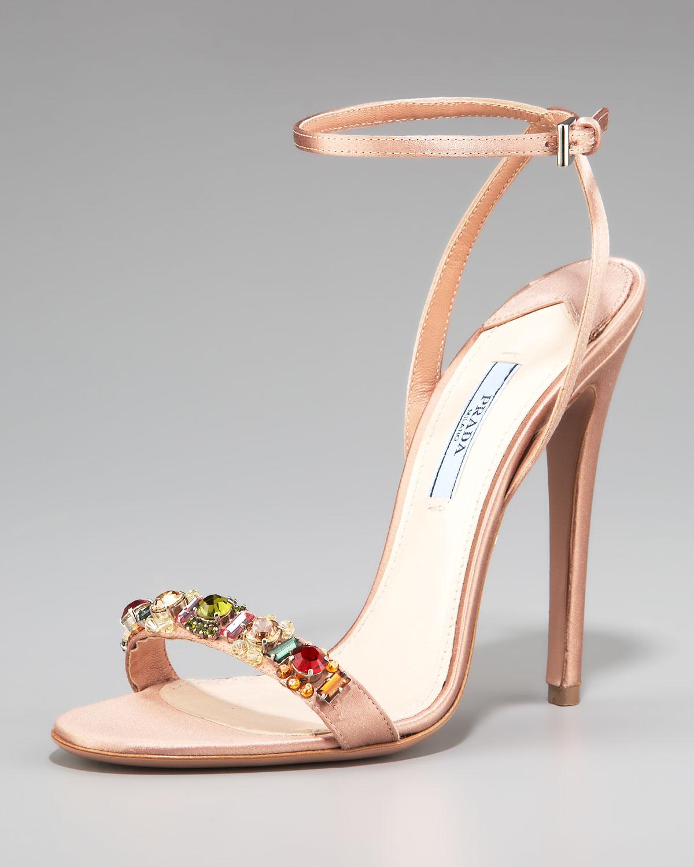 4c8b1c40876 Lyst - Prada Silk Jeweled Ankle-strap Sandal in Natural