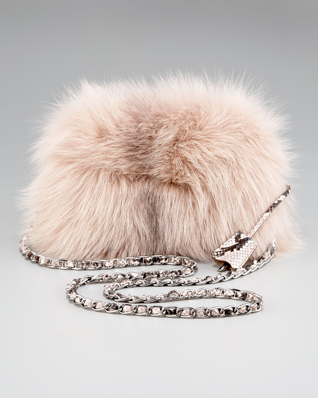 Prada Fox Fur Clutch in Pink (soft pink) | Lyst