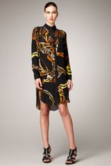 Proenza Schouler Printed Longsleeve Shirtdress in Yellow (yellow print) - Lyst