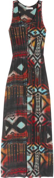 Sandro Rebelle Printed Crepe Maxi Dress - Lyst