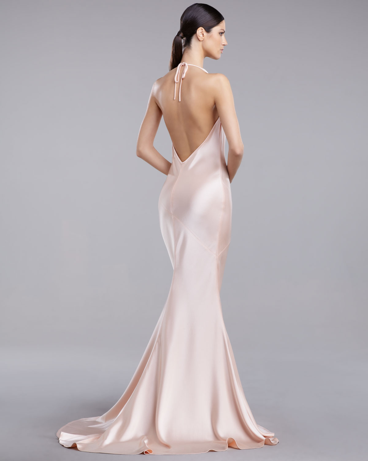 Lyst st john liquid satin bias cut gown in pink gallery ombrellifo Image collections