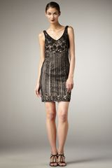 Sue Wong Meshback Beaded Shift Dress in Black (black nude) - Lyst