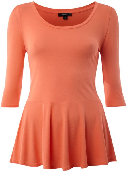 Therapy Jersey Peplum Top in Pink (coral) - Lyst