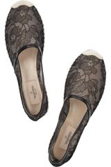 Valentino Leather and Lace Espadrilles in Black - Lyst