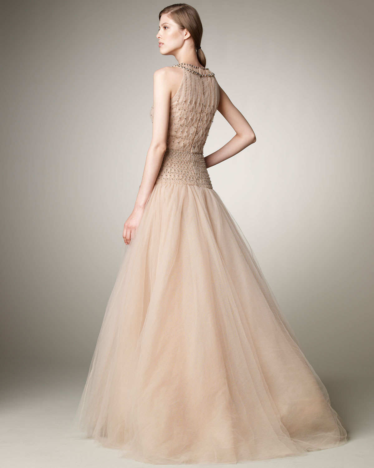 Lyst - Valentino Tulle Illusion Ball Gown in Natural