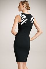Versace Sheath Animal Inset Dress in Black - Lyst