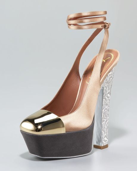 Saint Laurent Obsession Anklewrap Sandal in Gold (nude grey white